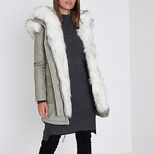 Stone faux fur trim parka