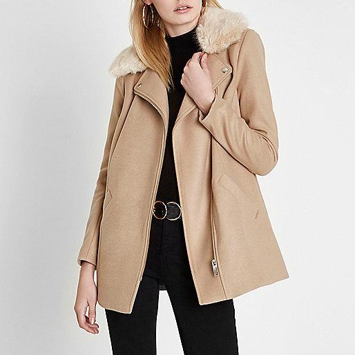 Camel biker faux fur collar coat