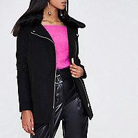 Black faux fur biker collar coat