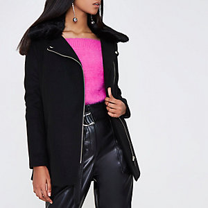 Black faux fur biker collar coat