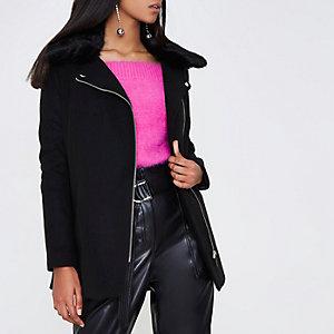 Black fur biker collar coat