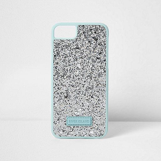 Silver glitter phone case