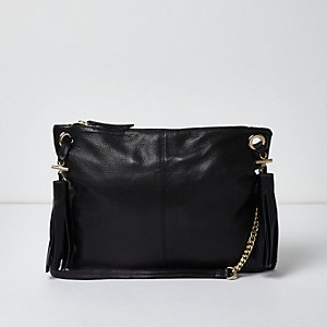 Black leather tassel cross body bag