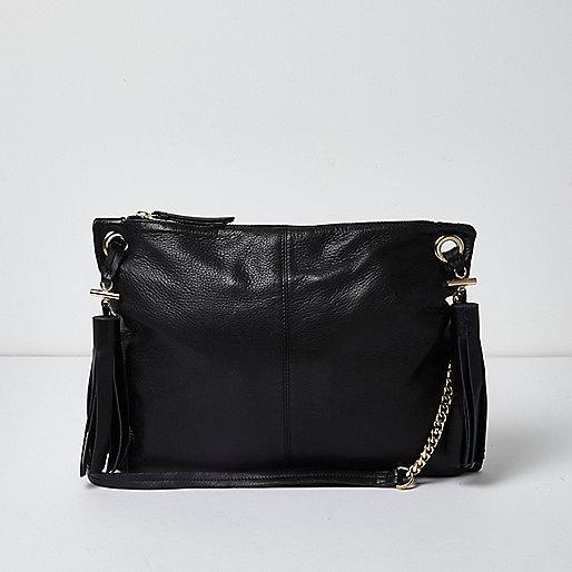 Black leather tassel cross body bag