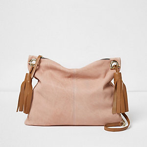 Pink leather tassel cross body bag