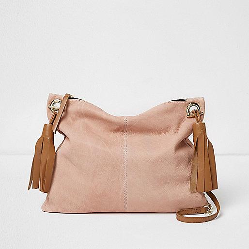 Pink leather tassel cross body bag