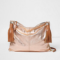 Rose gold metallic tassel cross body bag