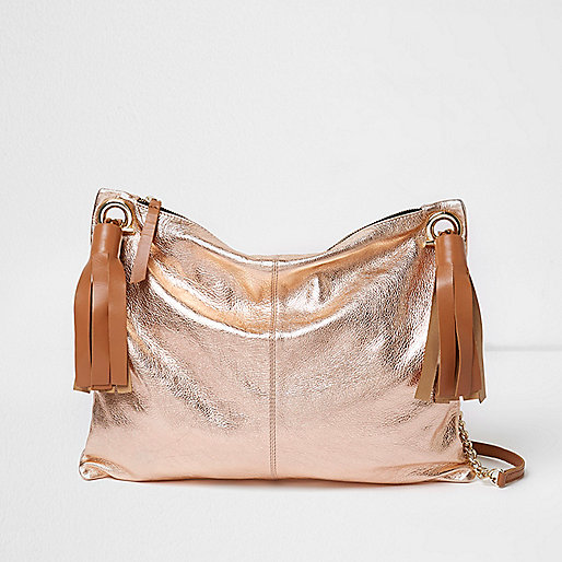 Rose gold metallic tassel cross body bag