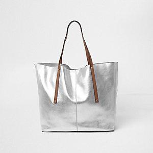 Silver metallic leather tote bag