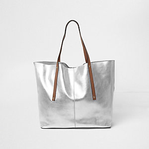 Silver metallic leather tote bag