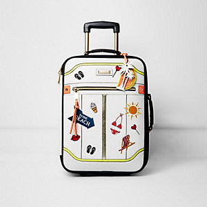 White 'to the beach' badged cabin suitcase