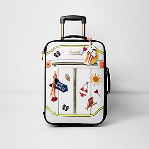 Valise de cabine blanche avec écusson «To the beach»