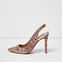 Gold glitter slingback pumps