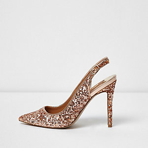 Gold glitter slingback court shoes
