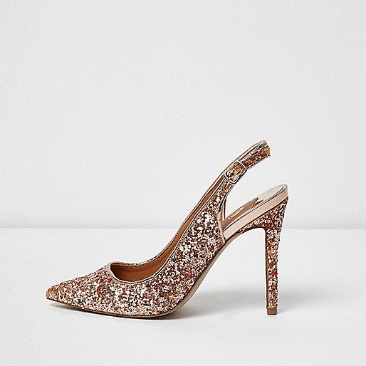 escarpins dor s paillet s bride arri re chaussures chaussures bottes femme. Black Bedroom Furniture Sets. Home Design Ideas