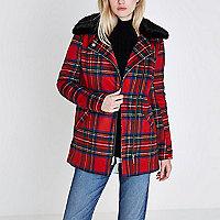 Red tartan check biker faux fur collar coat