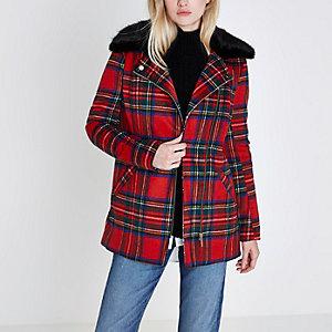 Manteau imprimé écossais rouge à col en fausse fourrure style motard