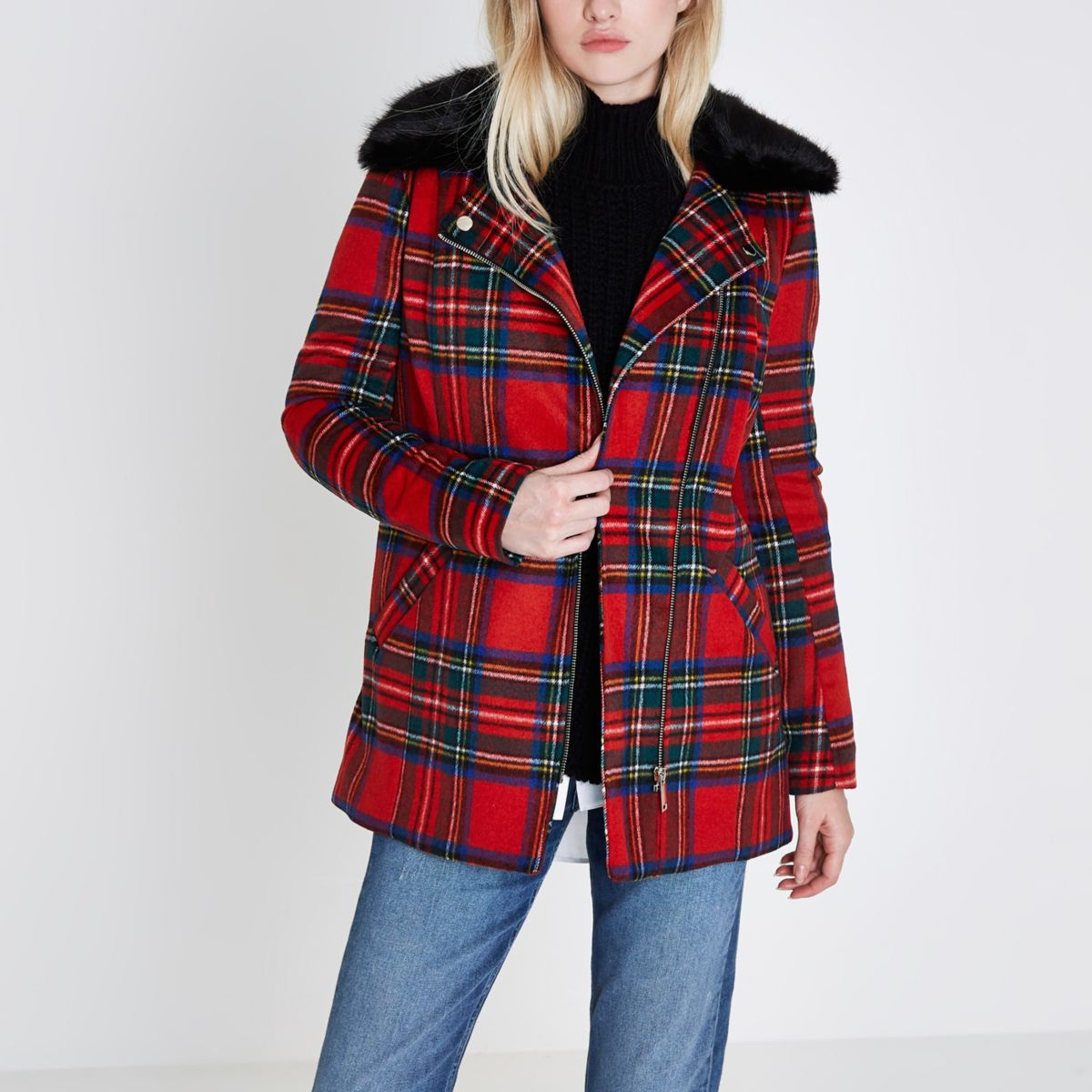 Red tartan check biker faux fur collar coat