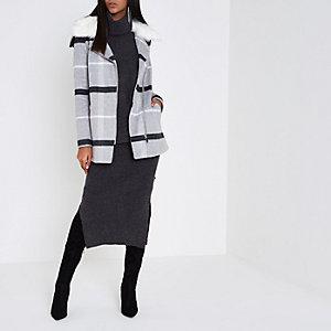 Grey check faux fur collar biker coat