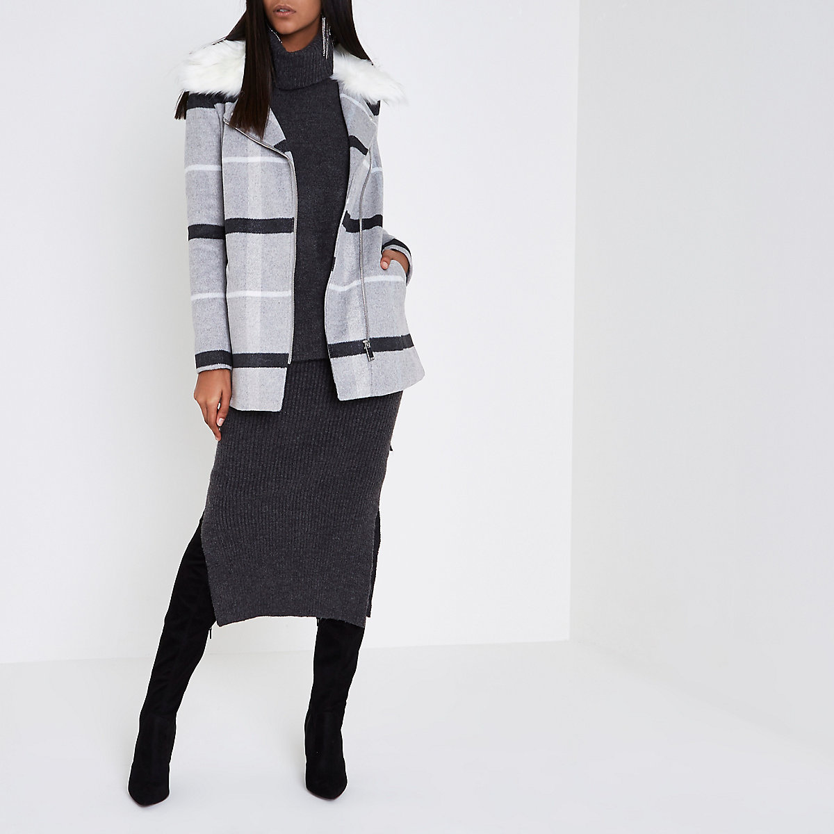 Grey check faux fur collar biker coat