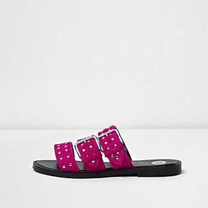 Pink studded strap sandals