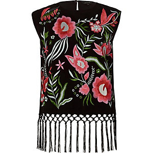 Black floral embroidered fringed hem top