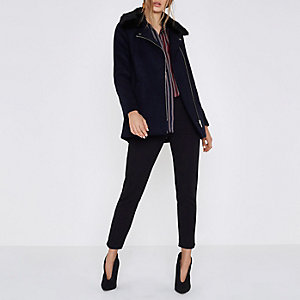 Navy faux fur biker collar coat