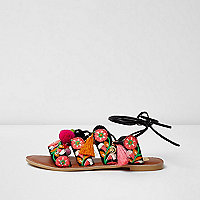 Black embroidered wide fit tie up sandals
