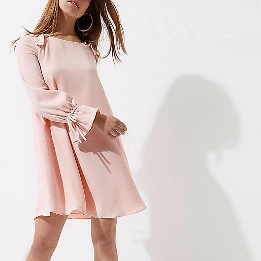Pink frill long sleeve smock dress