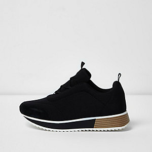 Black scuba textile sole runner sneakers
