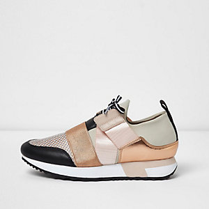 Gold lace-up runner trainers