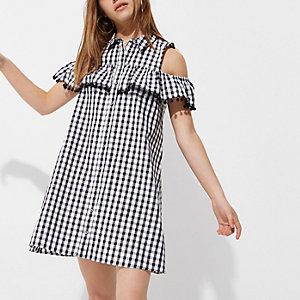 Petite – Schwarzes Kleid mit Schulterausschnitten