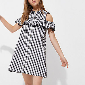 Petite black gingham cold shoulder dress