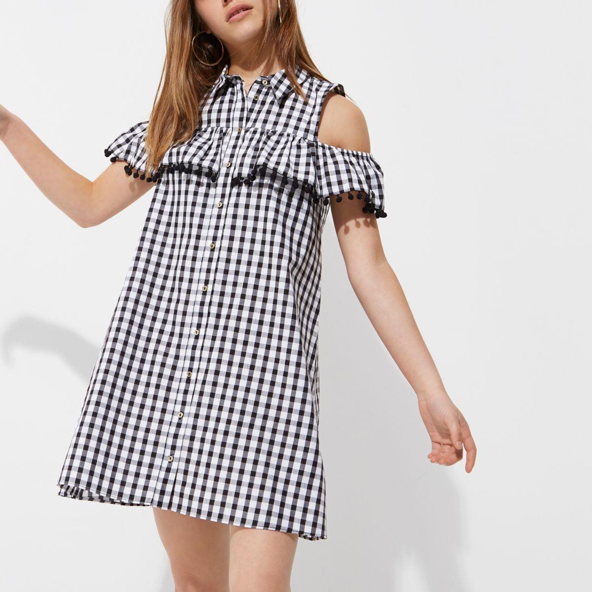 Petite black gingham cold shoulder dress