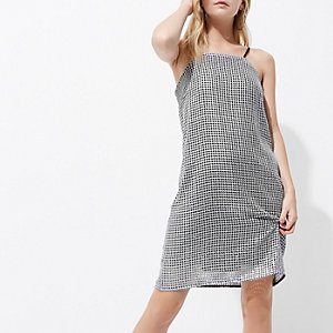 Petite silver sequin cami mini slip dress