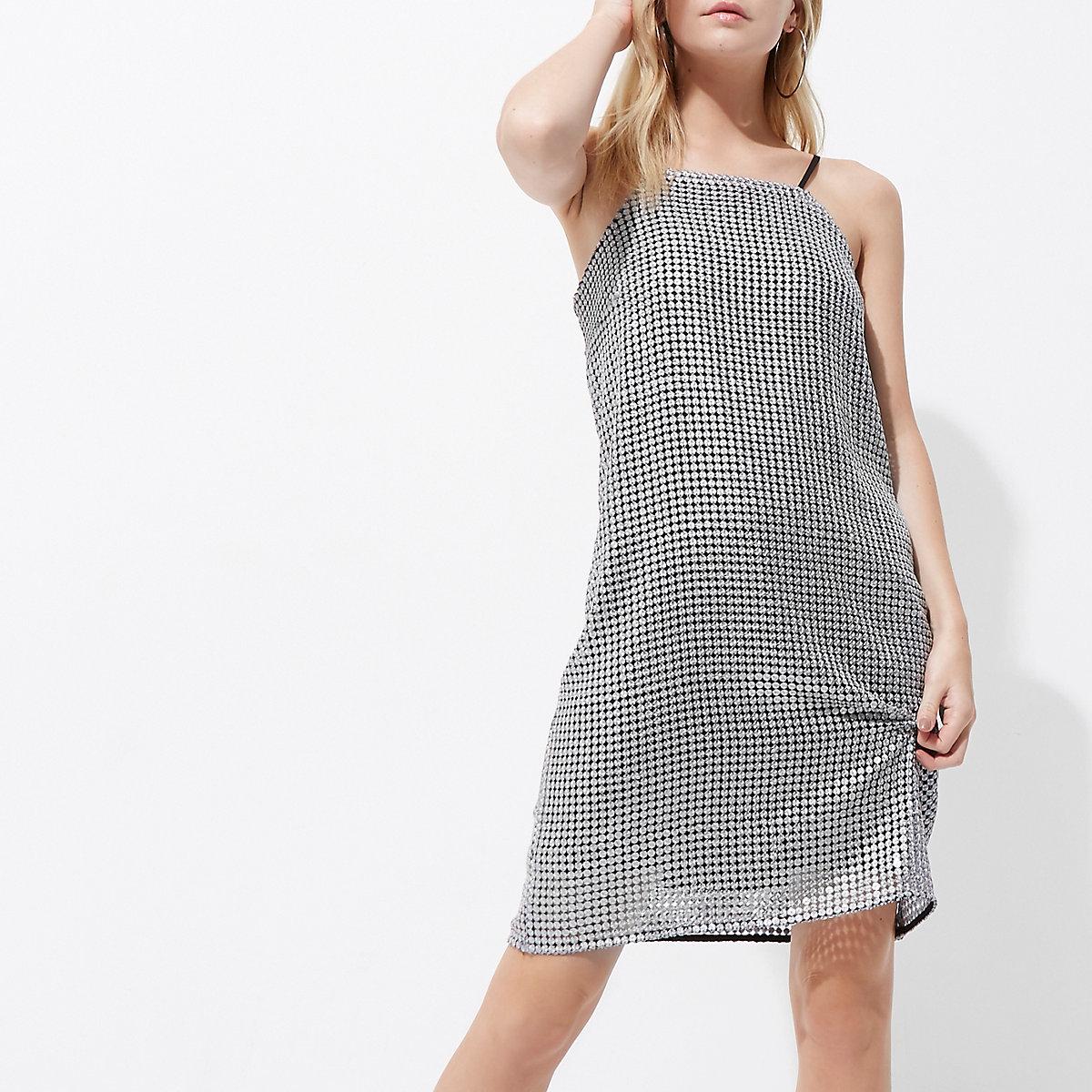 Petite silver sequin cami mini slip dress