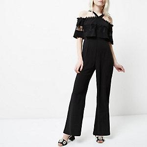 Petite black lace insert bardot jumpsuit