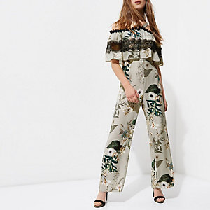 Petite grey floral cold shoulder jumpsuit