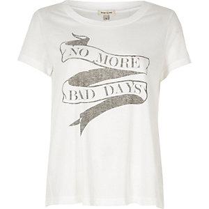White 'no more bad days' print T-shirt
