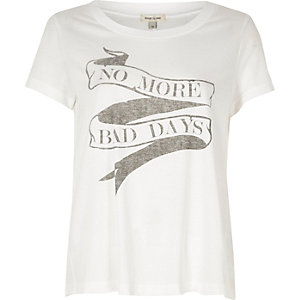 White 'no more bad days' print T-shirt