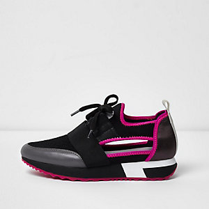 Pink cut out runner sneakers