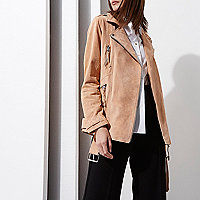 Light cream RI Studio suede biker jacket