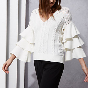 Cream RI Studio frill cable knit sweater