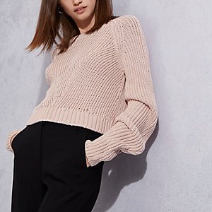 Nude RI Studio rib knit ruched sleeve sweater