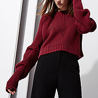 Berry RI Studio rib knit ruched sleeve jumper