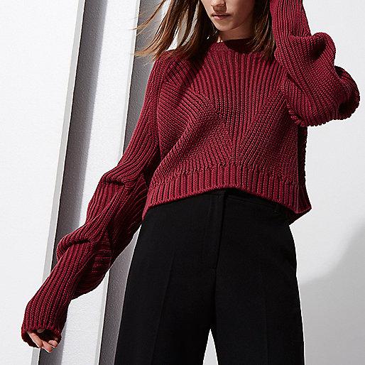 RI Studio - Pull rouge baie en maille côtelée à manches longues avec plis