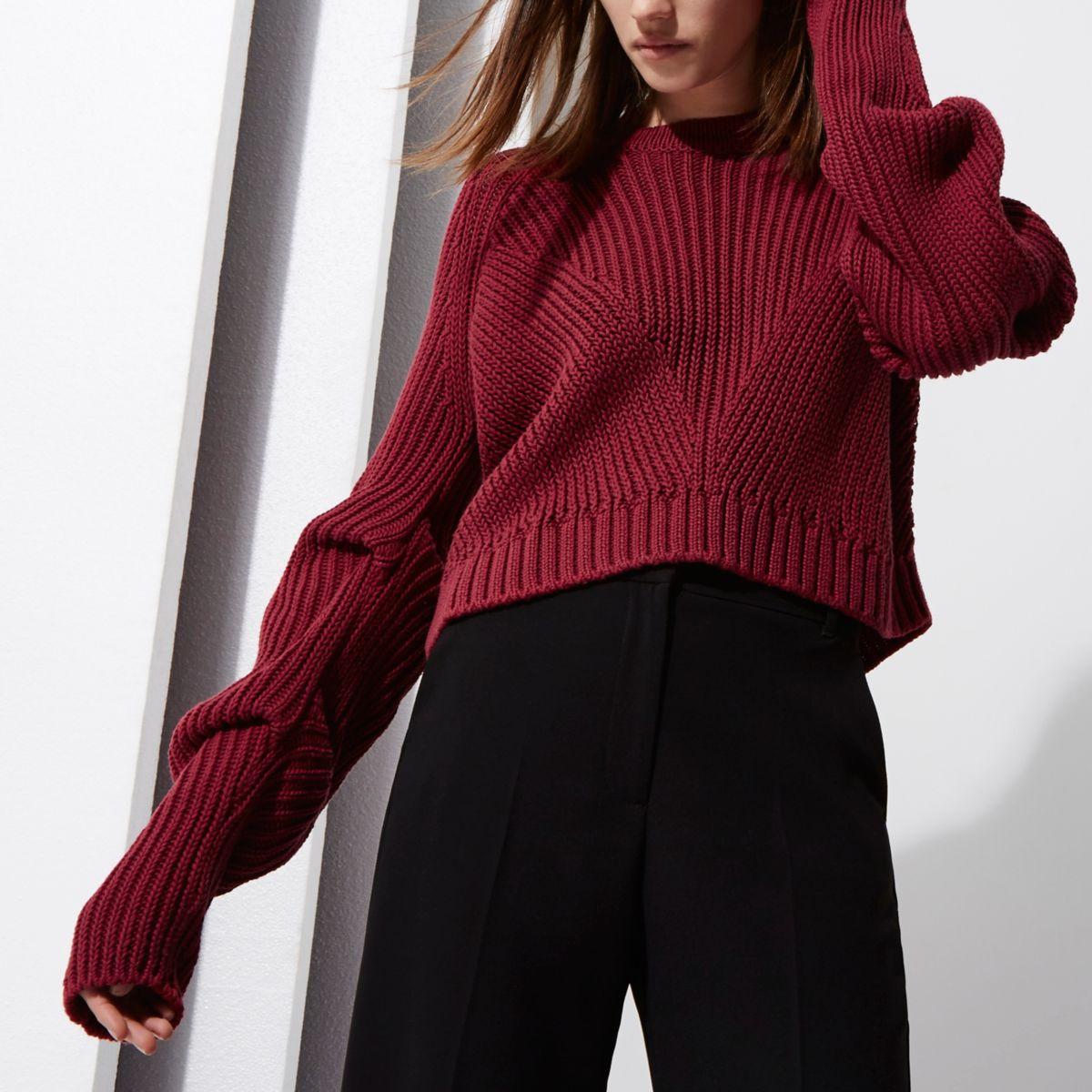 Berry RI Studio rib knit ruched sleeve sweater