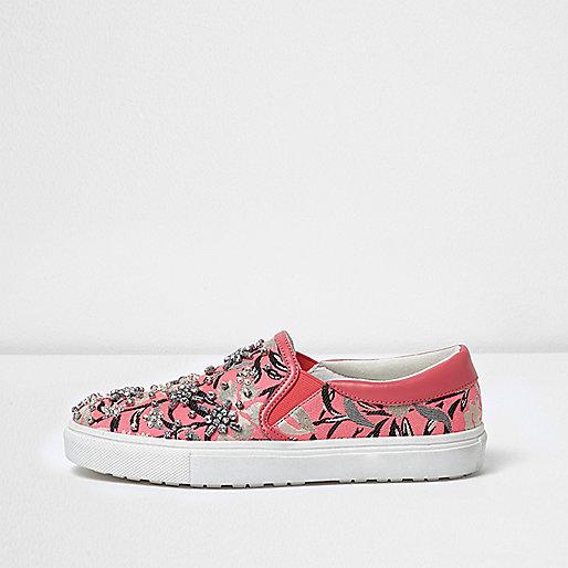 Pink print embellished slip on plimsolls