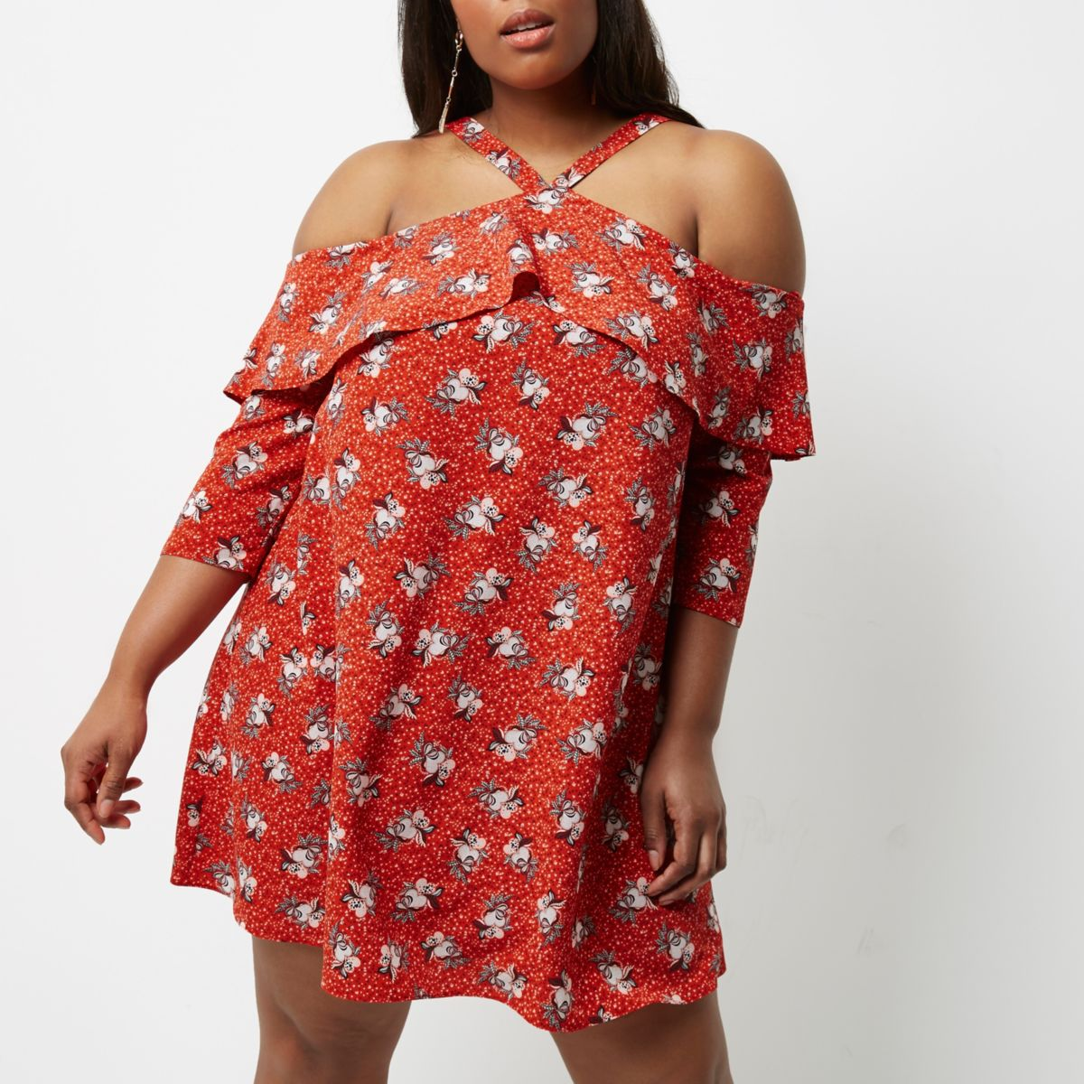 Plus red floral cold shoulder frill dress