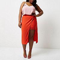 Plus red wrap midi skirt